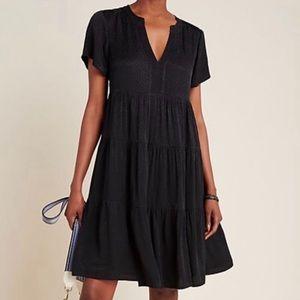 Anthro Maeve Sacha Tiered Tunic Dress Black XS